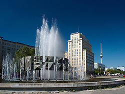 DDR era Fountain at Strausberger Platz on Karl Marx Allee in former East Berlin Germany