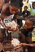 Girls make shea butter that will be used to make soap in the village of Banankoro, Mali on Saturday August 28, 2010.
