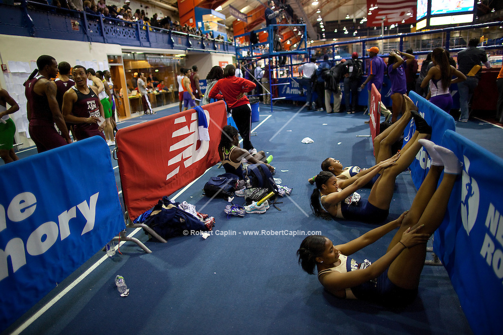 General scenes from the New Balance Collegiate Invitational being held at The Armory in Upper Manhattan. ..Photo by Robert Caplin...