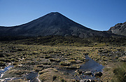 Ngauruhoe, Mount Tongariro, New Zealand, Volcano, blue sky, mountain stream, active stratovolcano, youngest vent, highest peak in the Tongariro volcanic complex, Central Plateau of the North Island