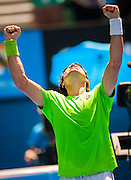 David Ferrer (ESP) faced J. Chardy (FRA) in Day Five of the Australian Open. Ferrer beat Chardy 2-6, 6 (5) - 7 (7), 2-6 at Melbourne's Rod Laver Arena.