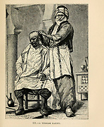 Turkish Barber engraving on wood From The human race by Figuier, Louis, (1819-1894) Publication in 1872 Publisher: New York, Appleton