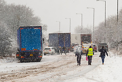 Heavy snow forecast for most of the day causing traffic chaos on the A 616 Stocksbridge By-Pass around lunchtime today<br /> <br /> 14 January 2021<br /> <br /> www.pauldaviddrabble.co.uk<br /> All Images Copyright Paul David Drabble - <br /> All rights Reserved - <br /> Moral Rights Asserted -