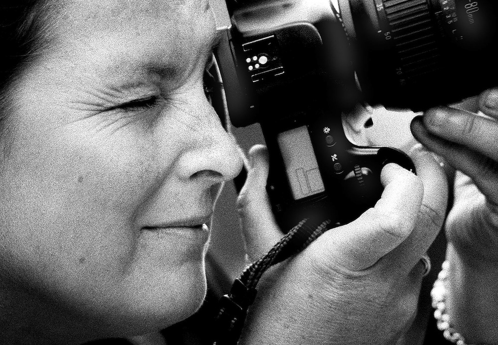 British photographer Jayne Fincher seen on assignment in 2001.