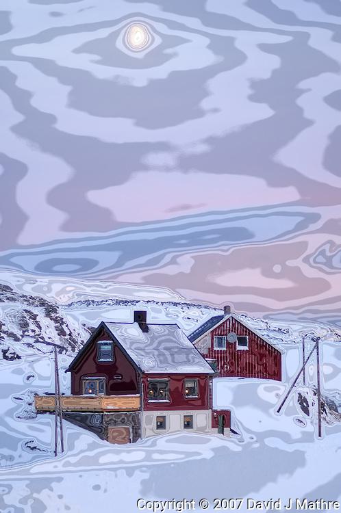 Moon at Dawn Over Havøysund Norway. Image taken with a Nikon D2xs and 85 mm f/1.4D lens (ISO 200, 85 mm, f/1.4, 1/180 sec). Modified using Nik Color Efex.