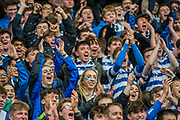 The Natwest Schools Cup Final between Bishops Wordsworth's Grammar School and Warwick School at Twickenham Stadium. London 29 March 2017. Warwick School won 27 -5. The Natwest Schools Cup Final between Bishops Wordsworth's Grammar School (Dark Blue) and Warwick School (Blue and white hoops) at Twickenham Stadium. London 29 March 2017.