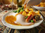 Traditional roast turkey dinner stock photos