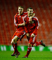 Fotball<br /> Foto: Propaganda/Digitalsport<br /> NORWAY ONLY<br /> <br /> Liverpool, England - Friday, January 26, 2007: Liverpool's Jimmy Ryan celebrates scoring the opening goal against Reading with team-mate Michael Burns during the FA Youth Cup 5th Round match at Anfield.