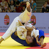 Miklos Ungvari (back) of Hungary and Masashi Ebinuma (front) of Japan fight during the Men -73 kg category at the Judo Grand Prix Budapest 2018 international judo tournament held in Budapest, Hungary on Aug. 11, 2018. ATTILA VOLGYI