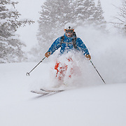 Tanner Flanagan gets smacked in the face with cold smoke blower powder.