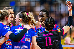 18-05-2019 GER: CEV CL Super Finals Igor Gorgonzola Novara - Imoco Volley Conegliano, Berlin<br /> Igor Gorgonzola Novara take women's title! Novara win 3-1 / Paola Ogechi Egonu #18 of Igor Gorgonzola Novara, Francesca Piccinini #12 of Igor Gorgonzola Novara, Cristina Chirichella #10 of Igor Gorgonzola Novara