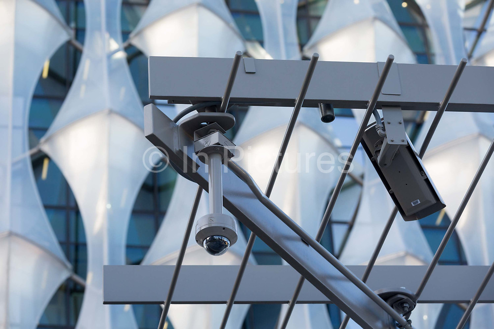 CCTV cameras keep watch over the US Embassy at Nine Elms in south London, on 16th January 2018, in London, England. On the day when the consulate opened for public business visa applications etc., after its controversial move from Grosvenor Square in central London to the south bank and which President Trump has refused to officially open.