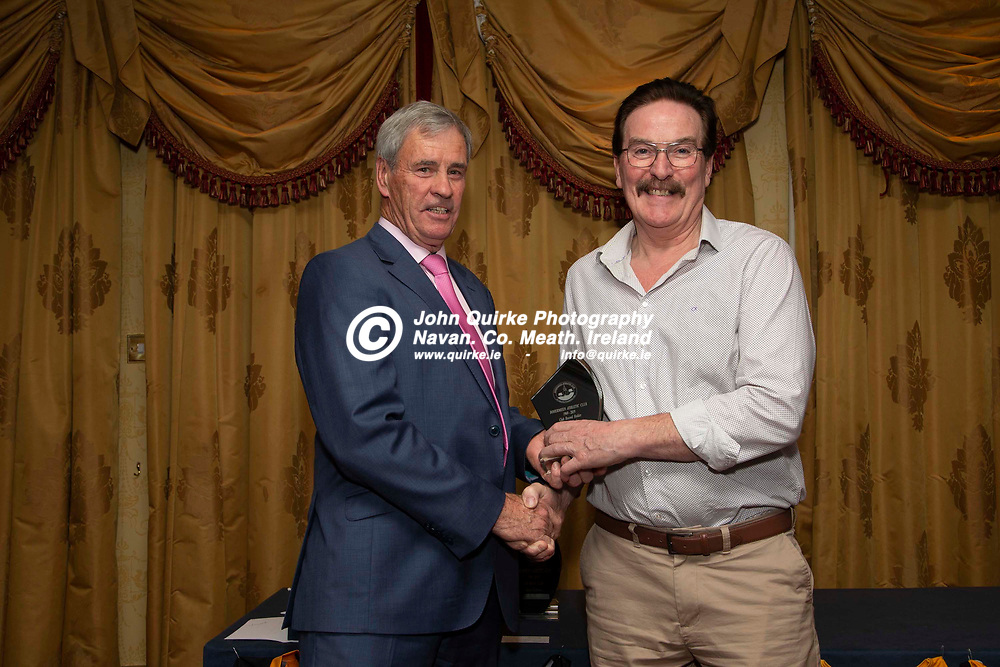 27/10/2019, Bohermeen Athletic Club 50th Anniversary celebration at the Ardboyne Hotel, Navan.<br /> Vincent Rennicks makes a presentation to Colm Burke - Club Record Holder<br /> Photo: David Mullen / www.quirke.ie ©John Quirke Photography, Unit 17, Blackcastle Shopping Cte. Navan. Co. Meath. 046-9079044 / 087-2579454.<br /> ISO: 400; Shutter: 1/200; Aperture: 6.3; <br /> File Size: 2.8MB