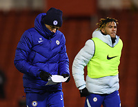 Football - 2020 / 2021 Emirates FA Cup - Round Five - Barnsley vs Chelsea - Oakwell Stadium<br /> <br /> Chelsea head coach Thomas Tuchel studies his notes as he makes his way back to the dressing room at half time.<br /> <br /> COLORSPORT/ASHLEY WESTERN