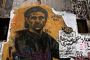 Egypt, Cairo 2014. Mohammed Mansour Street. Revolutionary graffiti .