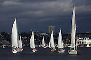 The GooseBumps Sailboat Races take place on Seattle's Lake Union the last three Sundays in January and the first three in February. In the background is the Ship Canal Bridge. (Ken Lambert/The Seattle Times)