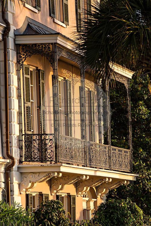 Stately antebellum historic Edmondston-Alston House museum along the High Battery in Charleston, SC.