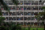 Washing hangs out along the walkway at a students halls of residence building in the University of Dhaka on the 29th of September 2018 in Dhaka, Bangladesh.