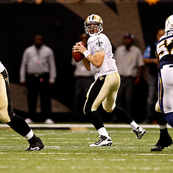 August 27, 2010; New Orleans, LA, USA; New Orleans Saints quarterback Drew Brees (9) passes the ball during the second half of a preseason game at the Louisiana Superdome. The New Orleans Saints defeated the San Diego Chargers 36-21. Mandatory Credit: Derick E. Hingle