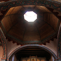 USA, California, Oceanside. Wood Dome Ceiling of Old Mission San Luis Rey de Francia.