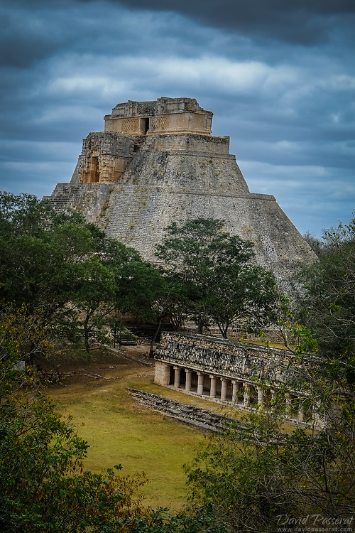 Pyramid of the Magician and columns contruction in Uxmal.