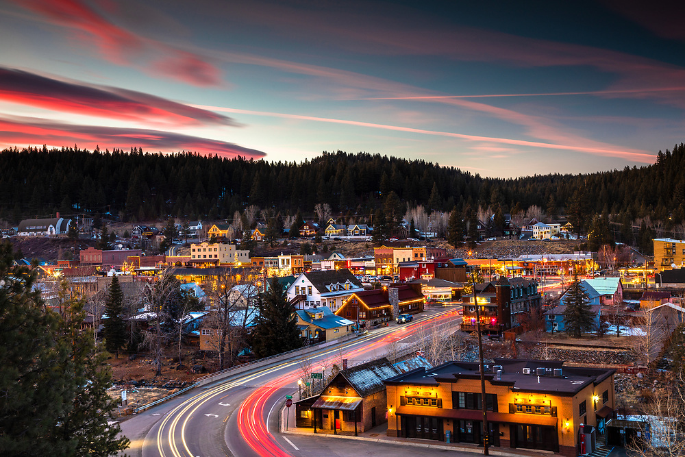 """""""Downtown Truckee 63"""" - Winter sunset photograph of Historic Downtown Truckee, California."""