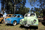A pair of Renault 4CV motorcars. 2011 Classic Car Show, Whiteman Park, Perth, Western Australia. March 20, 2011