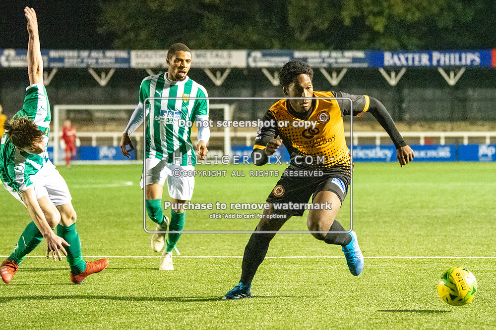 BROMLEY, UK - OCTOBER 30: Palace Francis, of Cray Wanderers, during the Kent Senior Cup match between Cray Wanderers and VCD Athletic at Hayes Lane on October 30, 2019 in Bromley, UK. <br /> (Photo: Jon Hilliger)