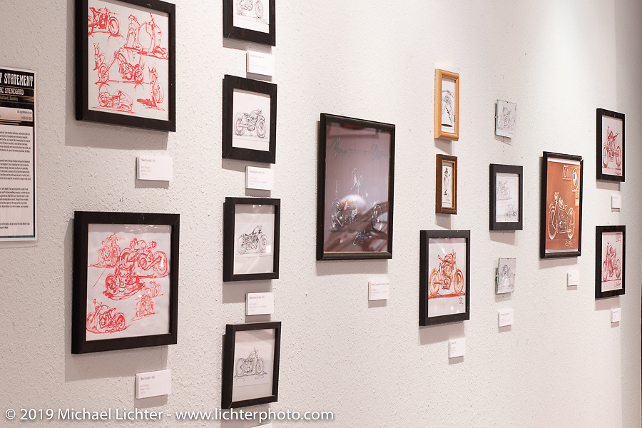 Gotland, Sweden based artist Isaac Stenegard's art on display in the What's the Skinny Exhibition (2019 iteration of the Motorcycles as Art annual series) at the Sturgis Buffalo Chip during the Sturgis Black Hills Motorcycle Rally. SD, USA. Friday, August 9, 2019. Photography ©2019 Michael Lichter.