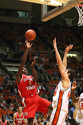 02 January 2004 Chris Burras lets go of a fade a wy jump shot.  Illinois State University ties up The Fightin Illini in regulation but fails to top the Big 10 team in overtime. Action took place at the Assembly Hall on the University of Illinois Campus in Champaign - Urbana Illinois.