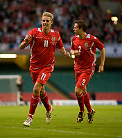 CARDIFF, WALES - Saturday, October 11, 2008: Wales' David Edwards celebrates scoring the opening goal against Liechtenstein during the 2010 FIFA World Cup South Africa Qualifying Group 4 match at the Millennium Stadium. (Photo by David Rawcliffe/Propaganda)