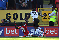 LONDON, ENGLAND - SEPTEMBER 25: Pape Souaré of Charlton Athletic tackles Mahlon Romeo of Portsmouth during the Sky Bet League One match between Charlton Athletic and Portsmouth at The Valley on September 25, 2021 in London, England. (Photo by Ben Peters/MB Media)