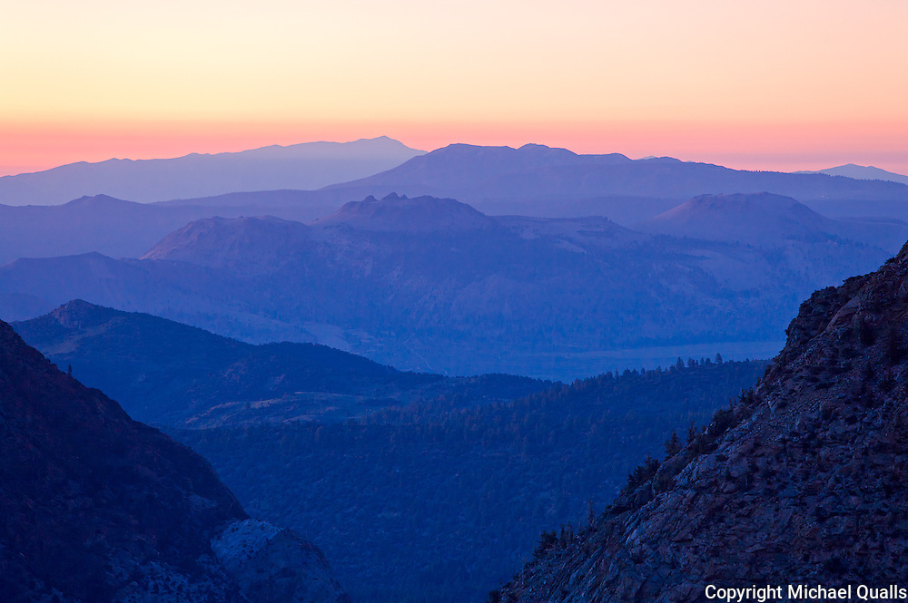 The Mono Craters at morning twilight.  Taken from the Tioga Pass Road at 9000'.
