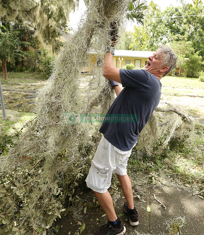 Gene Renderer lifts a heavy tree branch in the yard of his home in Leesburg, FL, USA on Monday, September 11, 2017. Hurricane Irma blew through the area late Sunday and early Monday, leaving widespread damage. Photo by Stephen M. Dowell/Orlando Sentinel/TNS/ABACAPRESS.COM