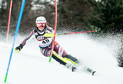 """Magdalena Fjaellstroem (SWE) competes during 1st Run of FIS Alpine Ski World Cup 2017/18 Ladies' Slalom race named """"Snow Queen Trophy 2018"""", on January 3, 2018 in Course Crveni Spust at Sljeme hill, Zagreb, Croatia. Photo by Vid Ponikvar / Sportida"""