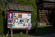 A detail of events, entertainment, attractions and election posters for the local Polish community on a noticeboard, on 22nd September 2019, in Jaworki, near Szczawnica, Malopolska, Poland.