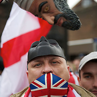 Members of the English Defence League (EDL) protest in Luton, Hertfordshire, England on February 5, 2011.  Approximately 3,000 protestors gathered for the rally, resulting in a £800,000 policing operation.