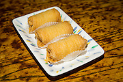 Fried durian rolls are photographed at Great Mall Mayflower Restaurant in Milpitas, California, on September 11, 2014. (Stan Olszewski/SOSKIphoto)