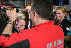 Anja Freser when came back from a hospital becaouse of injury at handball game ZRK Celje Celjske Mesnine vs RK Krim Mercator in final match of Slovenian Handball Cup,  on April 6, 2008 in Arena Golovec, Celje, Slovenia. Krim won the game 31:21 and became Cup Winner.  (Photo by Vid Ponikvar / Sportal Images)