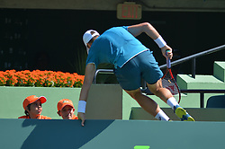 March 26, 2018 - Miami, FL, United States - KEY BISCAYNE, FL - March, 26: Steve Johnson (USA) jumps over barrier during play at the 2018 Miami Open on March 24, 2018, at the Tennis Center at Crandon Park in Key Biscayne, FL. (Credit Image: © Andrew Patron via ZUMA Wire)