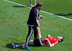 CARDIFF, WALES - Friday, June 3, 2016: Wales' Gareth Bale and his physiotherapist Jaime Benito Plans during a training session at the Vale Resort Hotel ahead of the International Friendly match against Sweden. (Pic by David Rawcliffe/Propaganda)