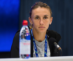 September 5, 2018 - Lesia Tsurenko of the Ukraine talks to the media after losing her quarter-final match at the 2018 US Open Grand Slam tennis tournament. New York, USA. September 05, 2018. (Credit Image: © AFP7 via ZUMA Wire)