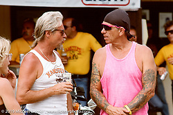 Arlen Ness talking with Gary Bang in Beulah, WY during the 50th annual Bike Week in the Black Hills. Photograph ©Michael Lichter 1989