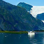 Boating in Aialik Bay in Kenai Fjords National Park Alaska