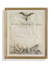 Presidential letter in gold frame Washington Lee Commissions