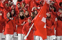 07-02-2014 ALGEMEEN: OPENINGSCEREMONIE OLYMPIC GAMES: SOTSJI<br /> De openingsceremonie in het Fishtstadion van de Olympische Winterspelen in Sotsji staat vol spektakel, dans en 22,5 ton vuurwerk / Zwitserland met vlagdrager Simon Ammann<br /> ©2014-FotoHoogendoorn.nl