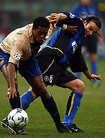 Photo. Javier Garcia<br />26/02/2003 Inter Milan v Barcelona, Champions League Second Phase, San Siro<br />Patrick Kluivert, left, battles with Christiano Zanetti