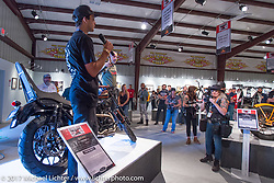 17 year old custom builder Duran Morley of RSD speaking about his bike at the Old Iron - Young Blood exhibition media and industry reception in the Motorcycles as Art gallery at the Buffalo Chip during the annual Sturgis Black Hills Motorcycle Rally. Sturgis, SD. USA. Sunday August 6, 2017. Photography ©2017 Michael Lichter.