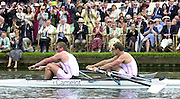 Henley on Thames, United kingdom,   Bow James CRACKNELL and Matthew PINSENT, competing in the Silver Goblets and Nickalls' Challenge Cup, at the Annual 2002 Henley Royal Regatta, Henley Reach, River Thames, England, [Mandatory Credit: Peter Spurrier/Intersport Images] 6/7/2002 - Sat. 20020703 Henley Royal Regatta, Henley, Great Britain