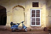 Blue Bike, Yellow Wall - Old Delhi, India